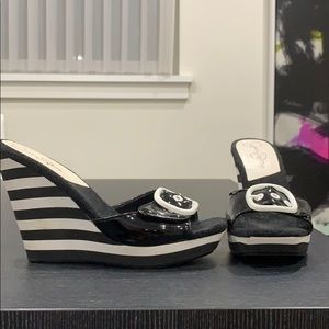 Jessica Simpson slip on black and white wedges